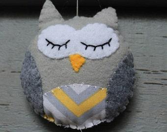 Owl Ornament-Grey Chevron Owl ornament, Christmas ornament, Baby shower decor, baby's room decor, stuffed owl