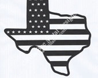 Texas State Shape with Flag Metal Sign