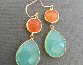 Aqua blue chalcedony and orange Aventurine gemstone Earrings, Orange blue earrings, Bridesmaid Jewelry, summer Wedding earring.