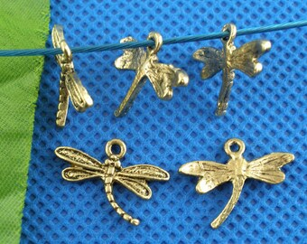 5 Pieces Gold Tone Dragonfly Charms