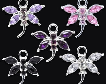 5 Pieces Mixed Silver Plated Rhinestone Dragonfly Charms