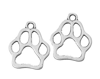 10 pieces Antique Silver Dog Footprint Charms