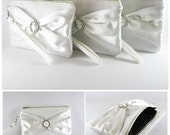 SUPER SALE - Set of 6 Ivory with Ivory Satin Bow Clutches - Rhinestone Bridal Clutches, Bridesmaid Wristlet, Wedding Gift - Made To Order