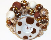 Fun Brown and White Polka Dot Chunky Beaded Watch , Polka Dot Bracelet Watch, Interchangeable Watch, BeadsnTime