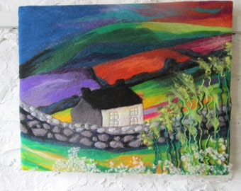 textile art, fiber art, felt art, wet felted, abstract fields, 20 x 16 inches