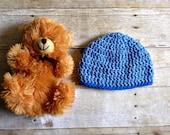 Baby Beanie Crochet Newborn Hat Light Blue with Blue Trim