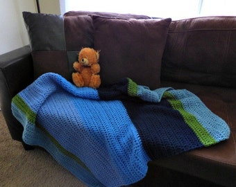 Blue Green Baby Blanket - Shower Gift - Baby Boy