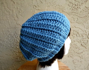 CLEARANCE Light Blue Crochet Womens Hat - Hipster Slouchy - The Myah Beret - Slouchy Beanie