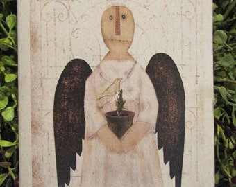 Primitive Angel Happy Birthday Greeting Card - FREE SHIPPING