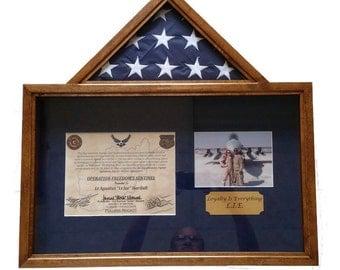 3 x 5 Custom Flag Certificate Photo Shadow Box Flag Display