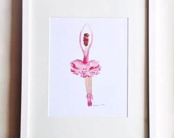 DIGITAL Pink Ballerina Watercolor Art Print