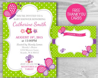 Baby Shower Butterfly Invitation Girl Baby Shower Printable Invites - Free Thank you Cards