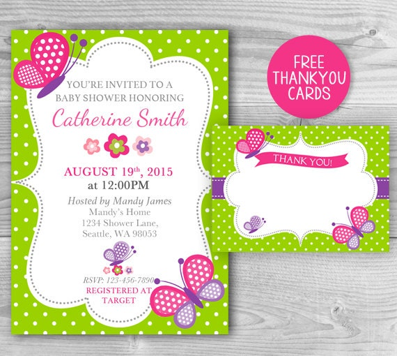 Butterfly Baby Shower Invites: Baby Shower Butterfly Invitation Girl Baby Shower Printable