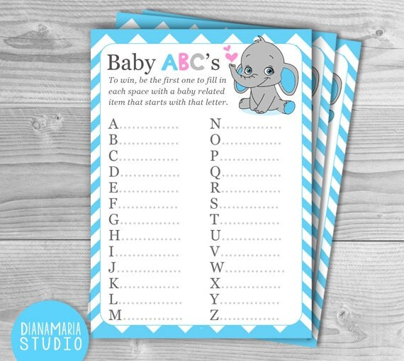 boy baby shower game baby abc elephant blue chevron theme diy