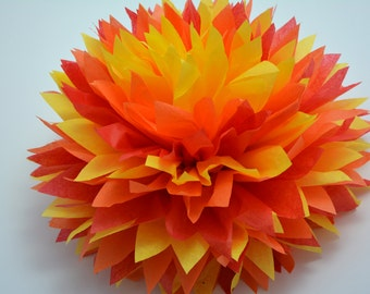 "One ""Fire 1"" Tissue paper Pom Poms // Wedding Decorations // Party Decorations // Pom Poms"
