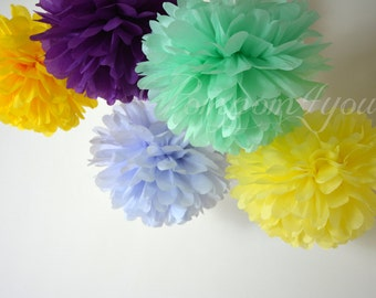 10 Paper POM POMS // Choose your Colors // Wedding Pom Poms // Nursery Decoration // Birthday Decor // Party Decor