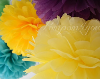 8 Tissue Paper POM POMS // Choose your Colors // Set of Pom Poms // Party Decorations // Wedding Pom Poms