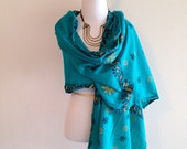 Vintage Ethnic Hippie Scarf Wrap Shawl Boho Festival Teal Green and Gold