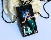 Blue Green Mermaid Black Resin Pendant Necklace