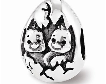 Sterling Silver Easter Chicks Bead
