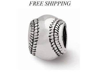 Sterling Silver Baseball Bead