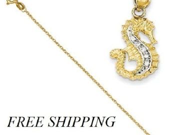 14K Diamond Seahorse Pendant with 14k Chain