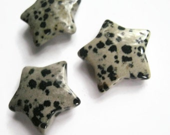 30mm Dalmation Jasper Star, 1 (One) Gemstone Star, 1 1/4 inch Black White Crystal, Pocket Star, Metaphysical Supply, Root Sacral Chakra