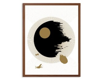 STAR WARS | Death Star in Black And Gold Poster : Modern Illustration Retro Art Wall Decor Print