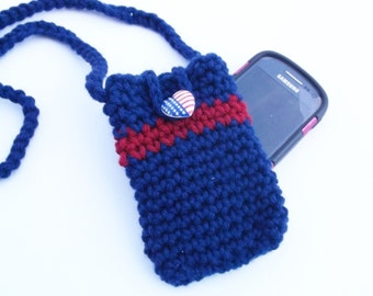 4th of July cell phone pouch - Patriotic cell phone cozy - Crochet cell phone cozy with straps -  Gifts uner 15 -  Mobile accessories