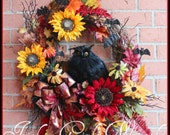 Large Red and Gold Spooky Woods Black Owl Fall Wreath, bat, Halloween Wreath, Sunflower, Autumn