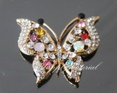 1PCS 40x35mm Colorful Crystal Butterfly Flatback Alloy jewelry Accessories materials supplies