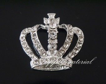 10PCS Silver Crystal Crown Flatback Alloy jewelry Accessories materials supplies