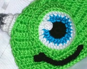 Crochet Mike Hat Monsters Inc Inspired Green Hat And/Or Matching Diaper Cover Bottoms And/Or Booties