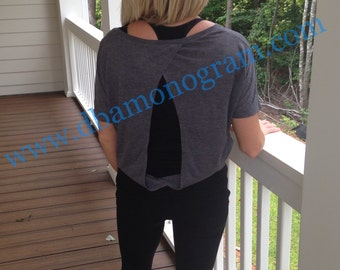 Monogram Ladies' Flowy Cutout Back Tee, yoga top, workout top
