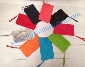 Monogrammed Clutch Purse/ envelope  clutch purse/ monogrammed purse- SILVER CHAIN