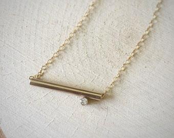 14k Gold Fill Offset Gemstone Slider Necklace