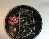 Indiana Souvenir Tray / Vintage State of Indiana Bar Serving Tray 1970's