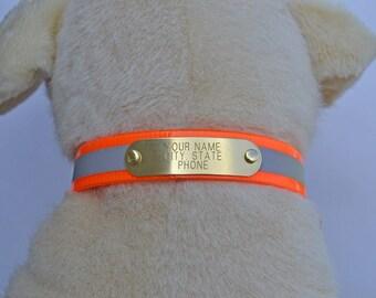 Warner Reflective dayglo dog Collar with (free brass id tag)  USA