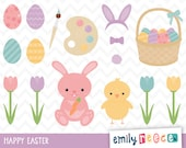 80% OFF SALE Easter Eggs Bunny Chick Painting Tulips Cute Clip Art, Instant Download, Commercial Use