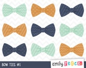 80% OFF SALE Bow Ties Boy Stripes Polka Dots Chevron Cute Clip Art, Instant Download, Commercial Use