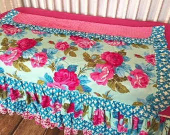 BUMPERLESS Hot Pink Turquoise Aqua Floral Shabby Chic Custom Crib Bedding