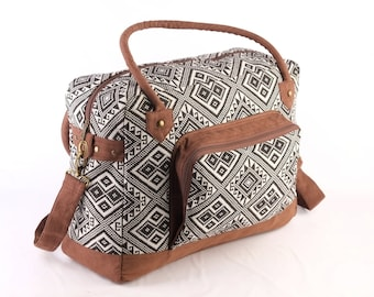 Navajo Overnight Bag, Southwestern Vacation Bag, Monochrome Native Tribal Textiles