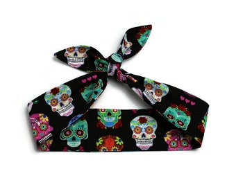 Hair Wrap, Knotted Hair Tie, Rockabilly Headband, Retro Self Tie Hair Scarf, Bow, Bandana, Sugar Skulls, Black, Pink, Hearts, Made in Canada