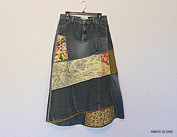 hippie upcycled eco jean skirt funky boho maxi skirt