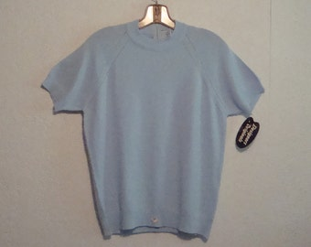 New Vintage Baby Blue Pullover Short Sleeved Nylon Sweater ~ Tags Attached ~ Designers Originals