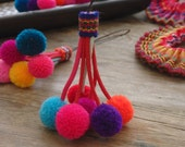 Thai pompom decoration with long loop for bag charm, accessories, jewelry, cell phones, pompom cluster, hanging decoration - ONE piece