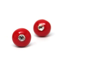 Stud earrings red polymer clay with crystal diamond ear posts 10mm