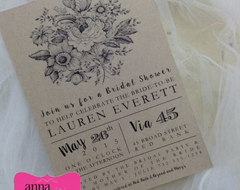 VINTAGE Single Layer Invitation on Kraft Cardstock