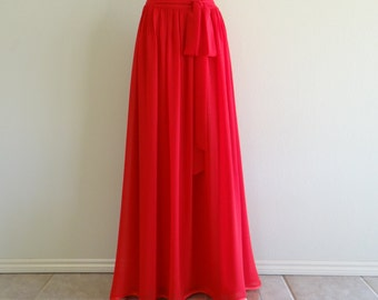 red Maxi skirt red floor-length skirt Double layered