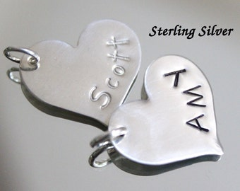 "Sterling silver heart name charm, heart pendant, heart charm, 3/4"" (20mm), handstamped jewelry, personalized name charm"